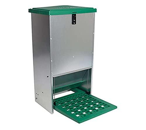 Comedero gallinas automático antipájaros para 20 kg - Tolva selfservice a Pedal para Aves de Corral