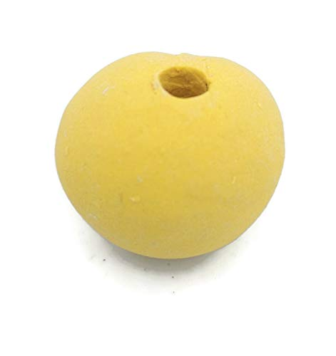 25mm Yellow Beads with Extra Large 4mm Hole, Handmade Ceramic Artisan Findings, Oversize Ball