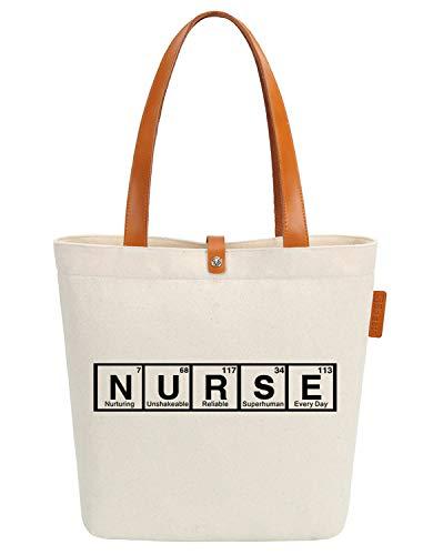 So'each Bolsa de lona y playa con diseño de palabras de enfermera, 38 cm, 10 litros, color beige