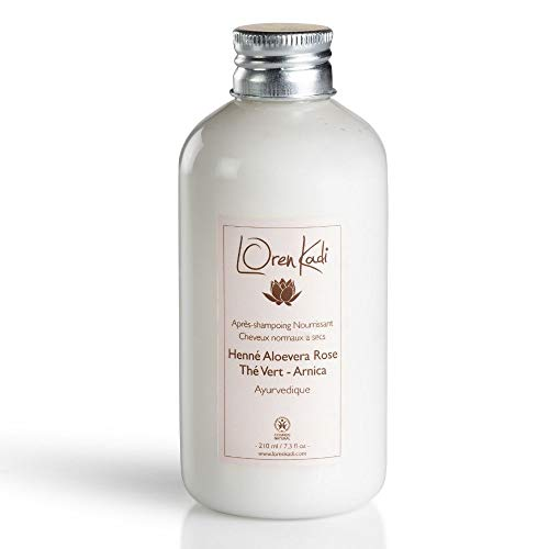 Loren Kadi - Après Shampoing - Nourrissant – Naturel, Ayurvédique - Certifié Cosmos - « Henné Aloevera Rose » - 210 ml