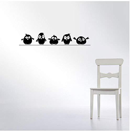 Annqing schattig 5 kleine vogels op de draad muur Stickers deur Stickers voor kinderen kamer woonkamer Art Decals Cartoon dier waterdicht Vinyl