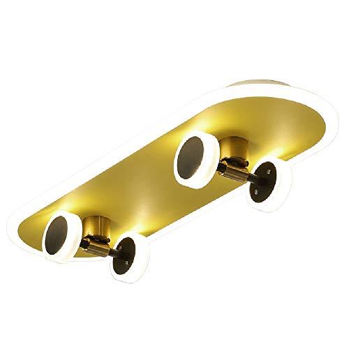 Golden Skateboard LED Deckenleuchte Dimmbar Kinder Schlafzimmer Lampe 32W Skate-Deckenlampe Für Kinderzimmer Und Sportliebhaber L60cm Jugend Licht Mit Fernbedienung - Leuchte Aus Metall/Kunststoff