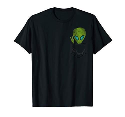 Alien Pocket Cool Funny Cute Peace UFO Gift T-Shirt