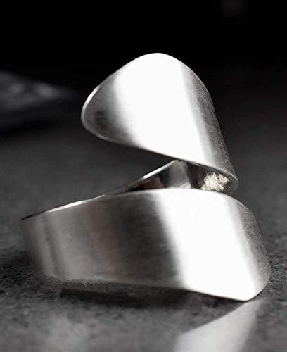 Silber Ring Damen Offen Breit - 925 Sterling - Verstellbar - Breiter Spiralring mit Geschenkbox