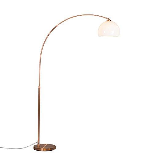 QAZQA Moderno Lámpara de arco moderna cobre pantalla blanca - ARC Basic Plástico/Acero Redonda Adecuado para LED Max. 1 x 20 Watt