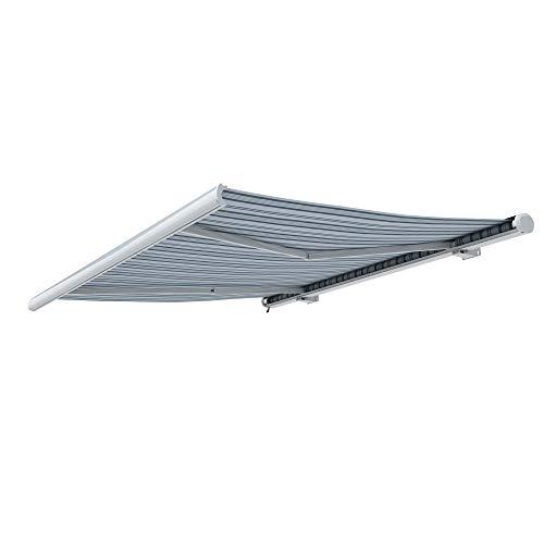 paramondo Markise Kassettenmarkise Curve Gelenkarmmarkise Balkon Terrasse Sichtschutz, mit jarolift Funkmotor, 4 x 3 m, Gestell: Weiß, Stoff: Multi, Weiß-Grau