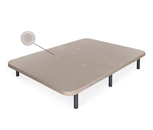 Dormidán - Base tapizada con Tejido 3D y válvulas de aireación + 6 Patas Acero 26cm, Refuerzo Central, Medida 105x190cm