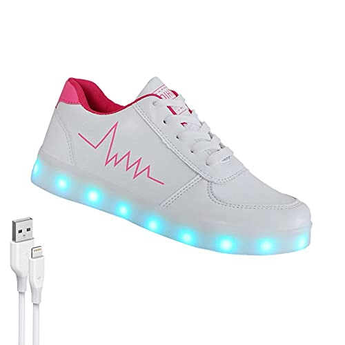 New Schuhe Mit Leuchtsohle -Unisex 7 Farben LED Schuhe-USB Aufladen Leuchtschuhe Licht Blinkschuhe Leuchtende Sport Sneaker Für Männer Und Frauen (Color : Pink, Size : 42)