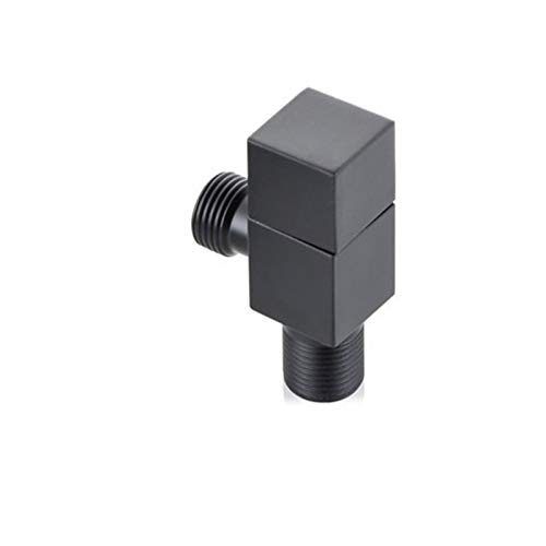 CHEN-TEA Copper Triangle Valve Black Square Valve Hot and Cold Water Valve Switch Water Heater Toilet Stop Valve Eight-Shaped (Color : Black)