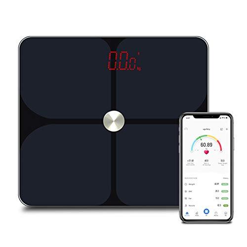 ACC Intelligente elektronische badkamer-hoofdweegschaal voor volwassenen, led-display met ronde hoeken voor gewichtsverlies, zwart 200 kg afneemt.