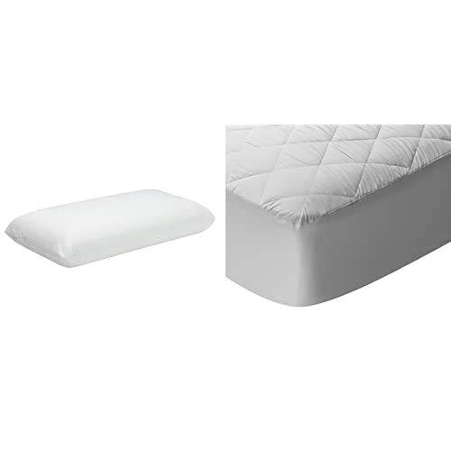 Pikolin Home Almohada viscoelástica (desenfundable), firmeza Media, 35x150cm, Altura 12cm (Todas Las Medidas) + Protector de colchón/Cubre colchón Acolchado