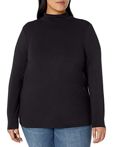 Amazon Essentials Plus Size Long-Sleeve Mockneck Fashion-t-Shirts, schwarz, 1X