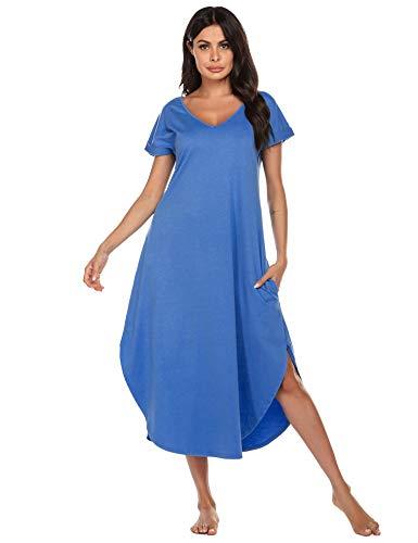 Ekouaer Sleepwear for Women Plus Size Nightshirt Summer Comfortable Long Nightgown(Blue, X-Large)