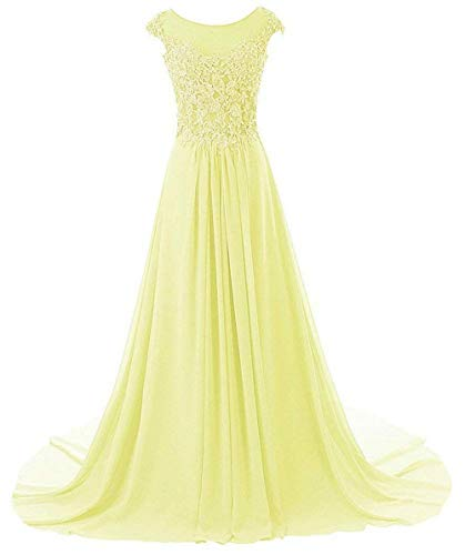 Abendkleider Ballkleider Brautjungfernkleid Hochzeitskleider Lang Chiffon A Linie Gelb EUR32