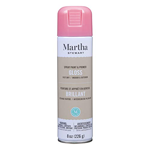 Martha Stewart Paint & Primer 8oz Spray Paint, Gloss Camellia Pink 8 Fl Oz