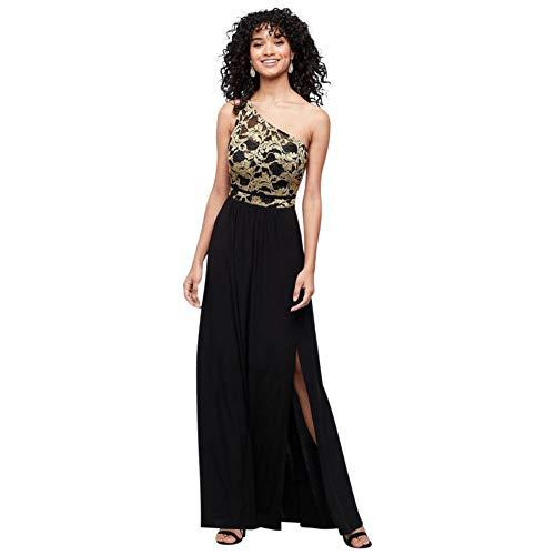Strappy One-Shoulder Jersey Lace Sheath Dress Style 21834, Black, 12