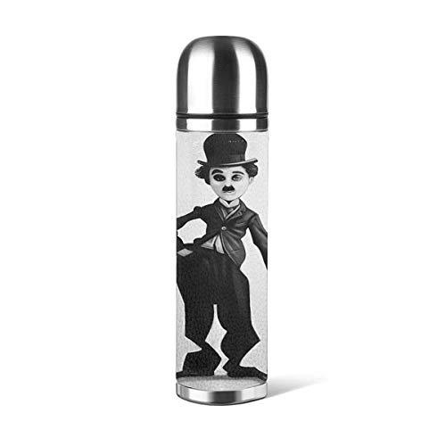 Charlie Chaplin Taza de vacío Taza de Agua de Acero Inoxidable aislada Botella de Agua con Aislamiento al vacío Taza de Viaje de café Deportivo Taza Termo Taza de Cuero Capacidad