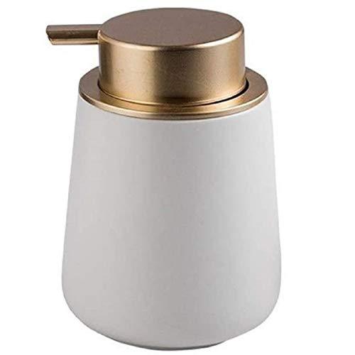 FülleMore 400ml Seifenspender Lotionspender aus Keramik Küche Spülmittelspender Badezimmer Dusche Flüssigseifenspender leicht nachfüllbar Shampoospender Duschgelspender 12.5x8.5cm (Weiß)