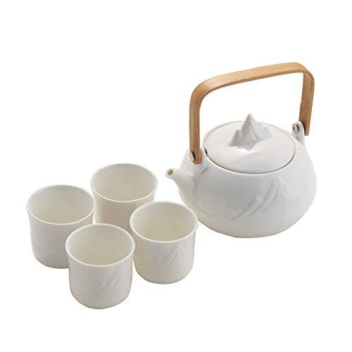 Juego de té japonés clásico de cerámica blanca con patrón de montaña, tetera y 4 tazas.