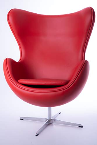 Volerò Shopping Online, Poltrona a Uovo Design Rétro, Modello Afrodite, Imbottitura in Fibra di Vetro, Rivestimento in Ecopelle Color Rosso, Base in Alluminio Girevole a 360° in Metallo Color Argento.