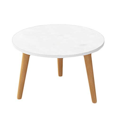 LICHUAN Mesa de centro nórdico pequeña mesa redonda mesa de café simple sala de estar pequeña mesa de café de madera maciza mini estilo japonés lateral casual mesa lateral mesa auxiliar salón