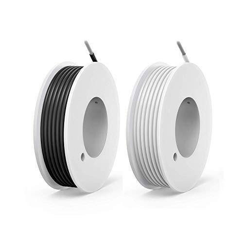 NorthPada 20 AWG 0,5 mm² Elektronik Elektrischer Draht Kit Litzen Silikon Leitungen Draht Verzinntes Kupfer Kabel 2 Farbe 600V 5A 2 x 7 meter Schwarz + Weiß