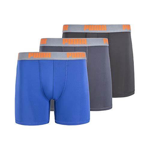 PUMA Men's 3 Pack Boxer Brief, Blue/Orange, Large