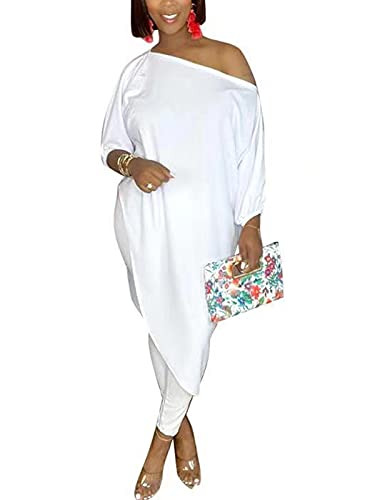 Women's Sexy Matching Sets Oversize Tunic Top Bodycon Long Pants Two Pcs Oversized Outfits White L