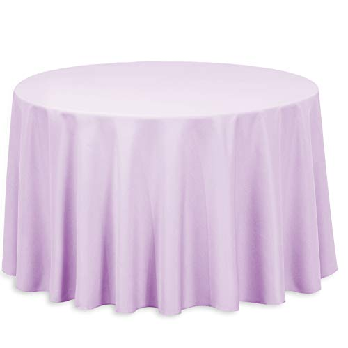 LinenTablecloth 108-Inch Round Polyester Tablecloth Lavender