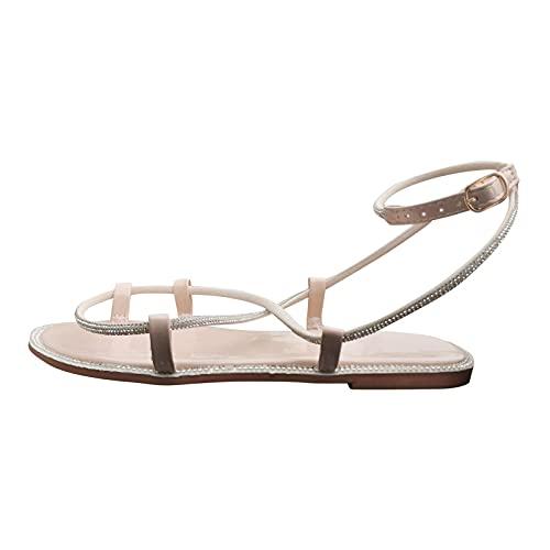 Eariuhfj Sandali da donna con plateau e zeppa, punta vicina, sandali da passeggio, casual, comodi, slip on Mom's Pantofole antiscivolo da spiaggia sandali esterni con gancio a strappo, Beige, 6.5