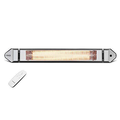 VASNER Teras 25 – calentador radiante eléctrico de infrarrojos, 2500 W, 4 niveles de calor, exterior & interior, control remoto, metal (Negro)
