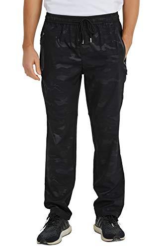 donhobo Pantalones para hombre, ligeros, transpirables, de secado rápido, para entrenamiento, senderismo, deportes, ocio, con bolsillos con cremallera camuflaje XL