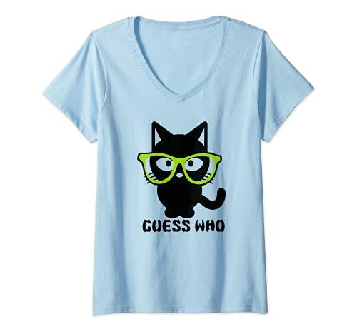 Mujer Guess Who - Gafas de máscara para gato Camiseta Cuello V