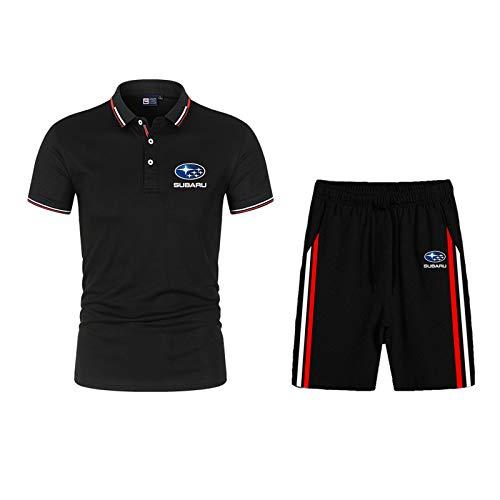 Dawnc Polos Hombre Sets para Su.b-a.RU Manga Corta Camiseta Pantalones con Botones, Respirable, para Deporte y Oficina T-Shirt (L,Black)