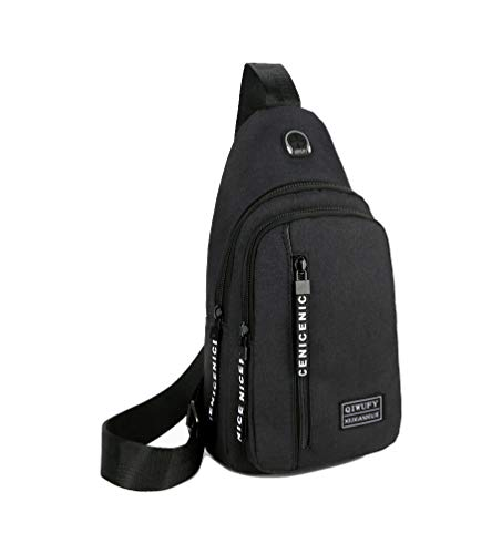 Small Sling Bag Crossbody Chest Shoulder Water Resistant Travel Bag for Men Women Boys With Earphone Hole