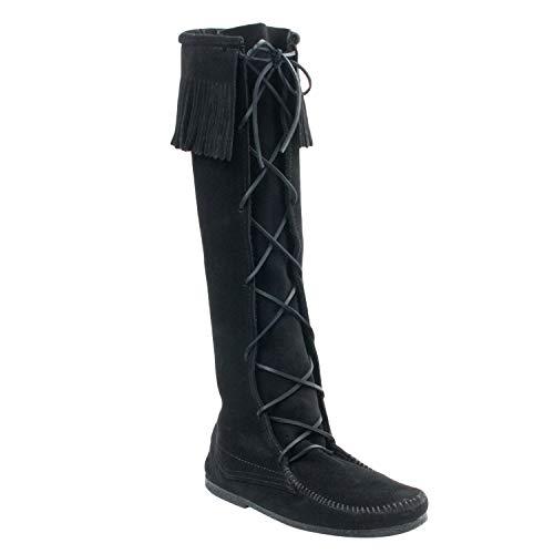 Minnetonka Women's Front Lace Knee Hi Boot, Black, 9