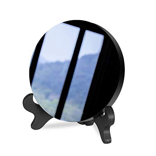 Espejo de obsidiana negro (10 cm, redondo, cristal natural, pulido)