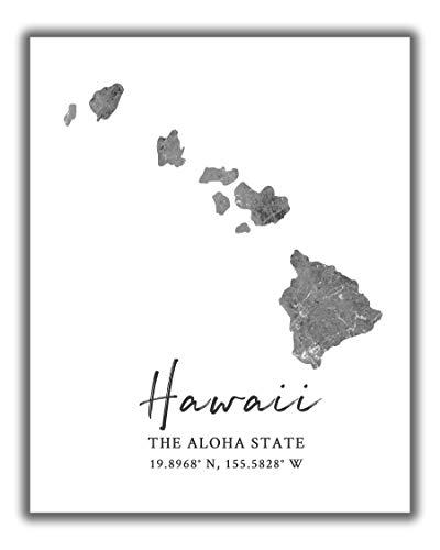 Hawaii State Map Wall Art Print - 8x10 Silhouette Decor Print with Coordinates. Makes a Great Aloha State-Themed Gift. Shades of Grey, Black & White.