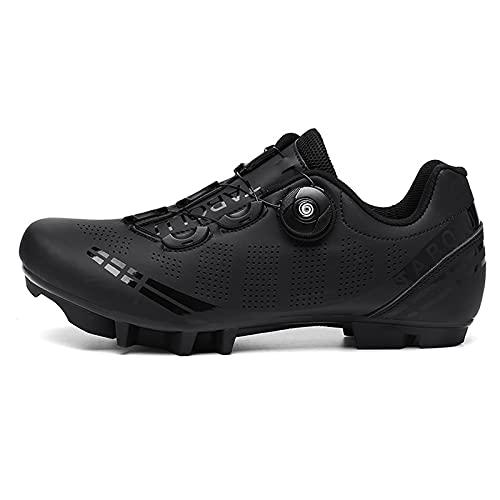 Zapatillas de Bicicleta de Montaña Antideslizantes para Hombre Mujer Zapatillas de Ciclismo MTB Transpirables Profesionales Compatibles con SPD Black 230