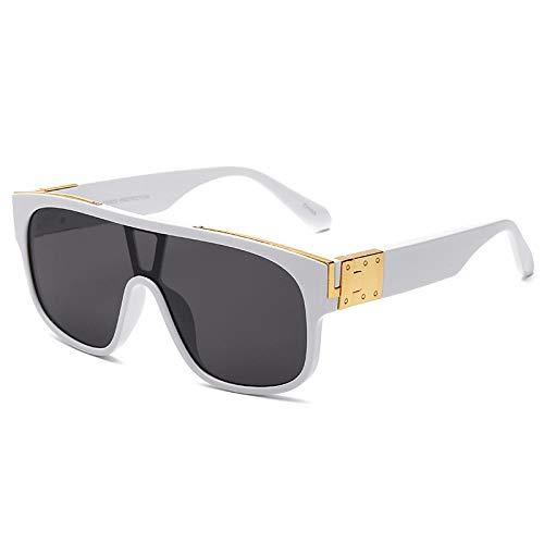 Gosunfly Ins hombres europeos y americanos que conducen gafas de sol de moda con montura grande sombrilla de cara redonda a prueba de viento gafas de sol mujeres-Marco blanco pieza gris