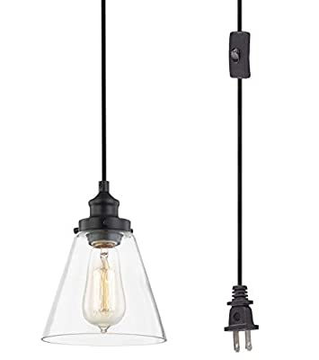 WOXXX Glass Plug In Pendant Light Black Farmhouse Pendant Lighting Plug In For Kitchen Island Living Room Bedroom Industrial Hanging Light Fixture Hanging Lamp With Plug In Cord, In-Line On/Off Switch