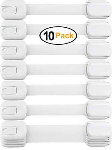 Child Safety Locks -VALUE PACK (10 Straps)- No Tools or Drilling -Adjustable Size/Flexible -Adhesive Furniture Latches For Cabinets, Drawers, Appliances, Toilet Seat, Fridge, Oven & More (White/White)