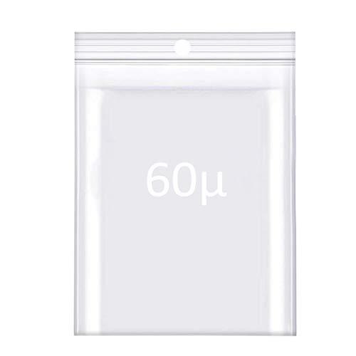 Lot de 50 ou 100pcs, 50, 60 ou 90 microns - Sachets à Fermeture Zip Transparent – Plastique Compatible Alimentaire- Bijoux – Outils - PE-LD - Forte épaisseur