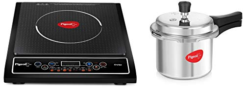 Pigeon by Stovekraft Cruise 1800-Watt Induction Cooktop (Black) & Favourite Outer Lid Non Induction Aluminium Pressure Cooker, 3 Litres, Silver Combo