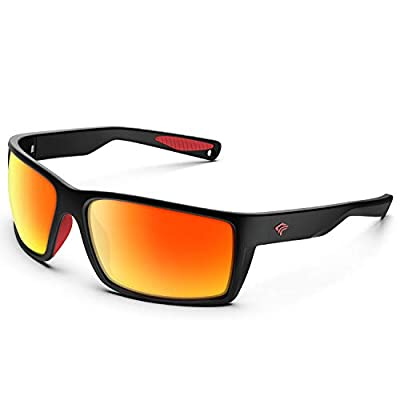 TOREGE Sports Polarized Sunglasses for Men Women Flexible Frame Cycling Running Driving Fishing Mountaineering Trekking Glasses TR24 (Matte Black & Red & Orange Revo Lens)
