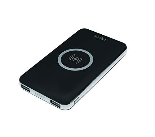 LogiLink PA0180 - Mobile Powerbank (Zusatzakku) 6000 mAh, 2x USB, Schwarz - QI Induktionsladen