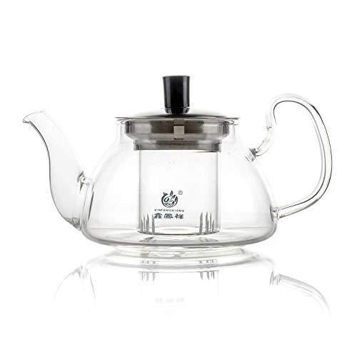 Tetera de vidrio borosilicato ultra transparente resistente al calor con infusor de vidrio extraíble - 450 ml / 15.2 oz