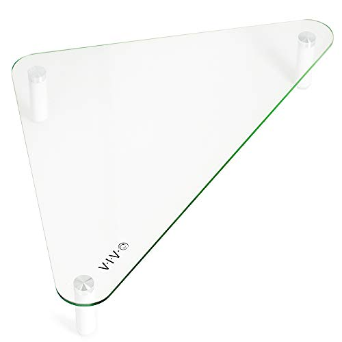 VIVO Glass Ergonomic Tabletop Riser, Triangle Desktop Universal Corner Stand for Computer Monitor and Laptop STAND-V000Q