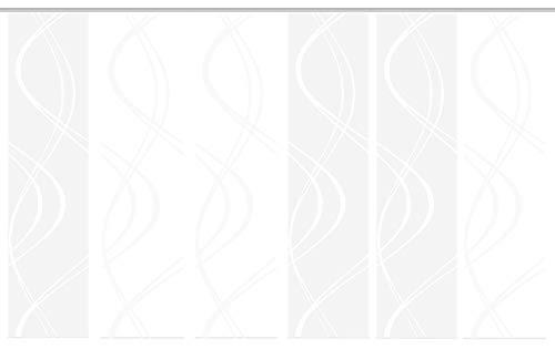 Home Fashion 96662 | 6er-Set Schiebegardinen TIBERIO | Scherli Blickdicht & transparent | wollweiß | je 245x60 cm