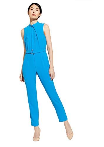 comma Damen Jumpsuit mit drapiertem Ausschnitt Horizon Blue 34